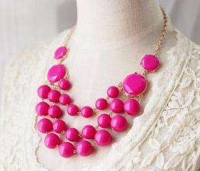 Multi Strand Bubble Necklace J. Crew Style Inspired Fuchsia Pink