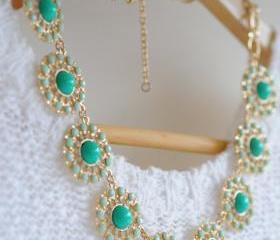 Green and Mint Bean Circular Bubble Acrylic Collar Necklace